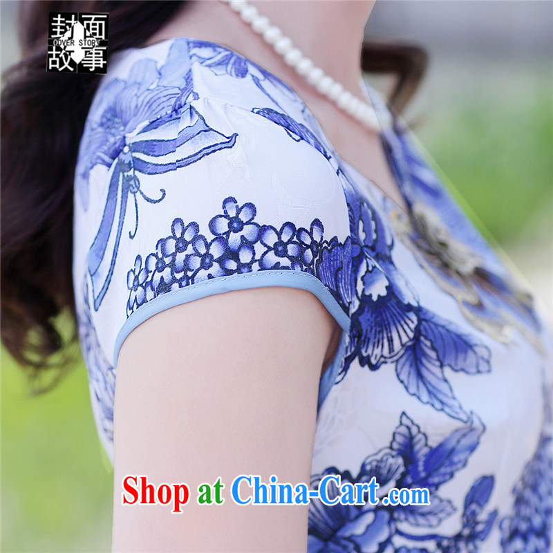 Cover Story cheongsam dress 2015 summer new stylish blue and white porcelain stamp improved cultivating retro Chinese qipao Ms. dresses white floor take XXL, cover story (cover story), online shopping