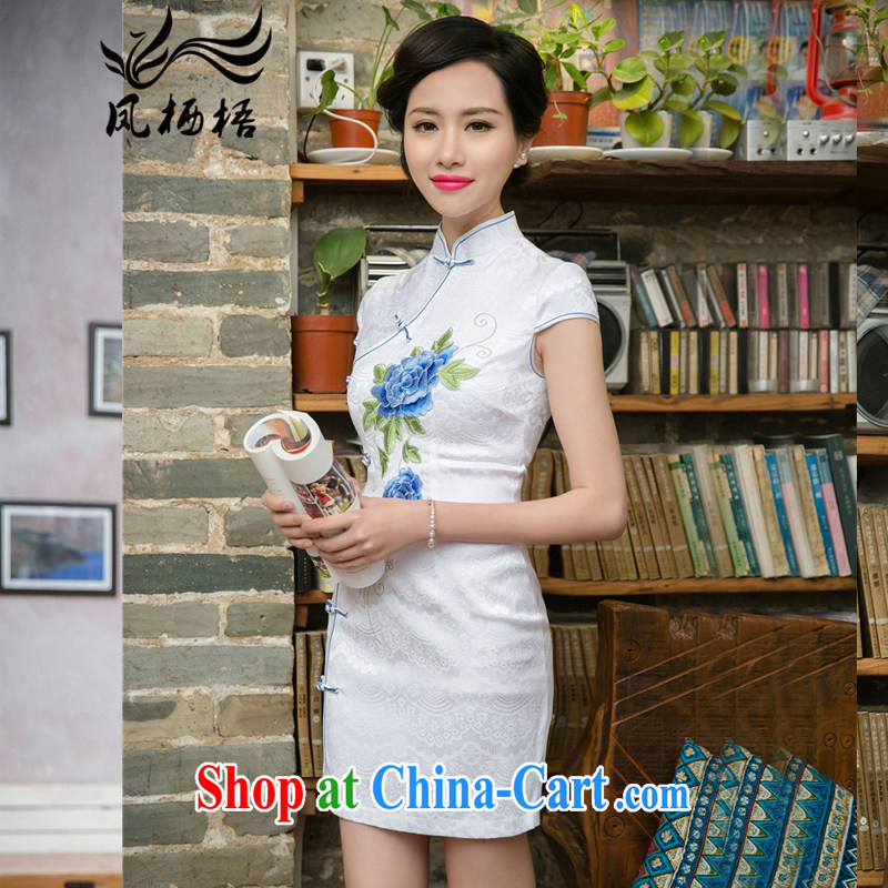Bong-amphibious NTHU summer 2015 new improved stylish dresses and elegant Lace Embroidery cheongsam beauty dresses DQ 15,157 blue flower XXL