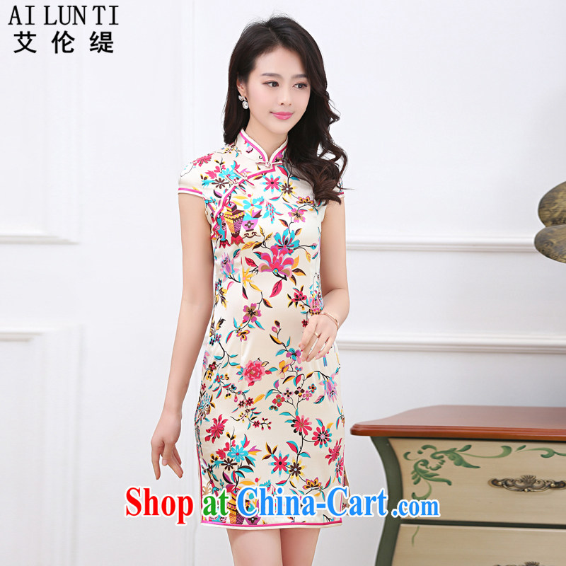 Alan (AILUNTI) 2015 summer improvement sauna beauty silk Silk Cheongsam cultivating the waist graphics thin high quality silk dress dresses saffron XXL