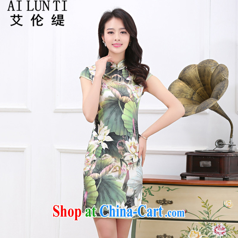 Alan (AILUNTI) Improved cultivating Suhang sauna silk Silk Cheongsam cultivating the waist graphics thin high quality silk dress dresses Lotus Pond XXL