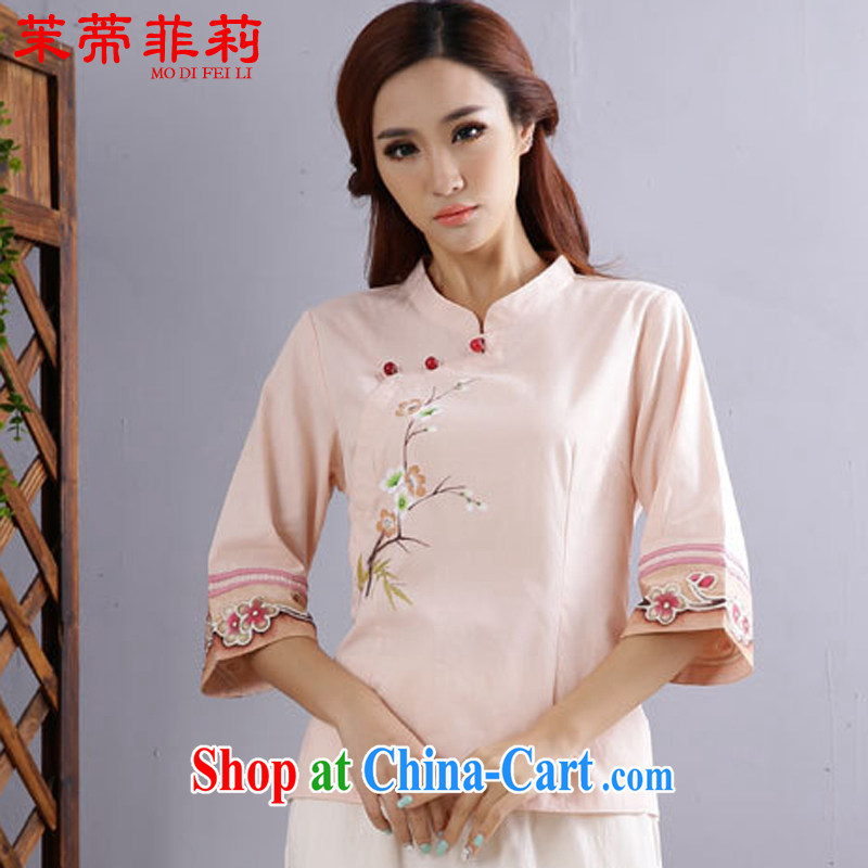 Energy Mr. Philip Li Yau Ma Tei cotton shirt girl Chinese Chinese cynosure serving ethnic wind improved Han-pink summer XL