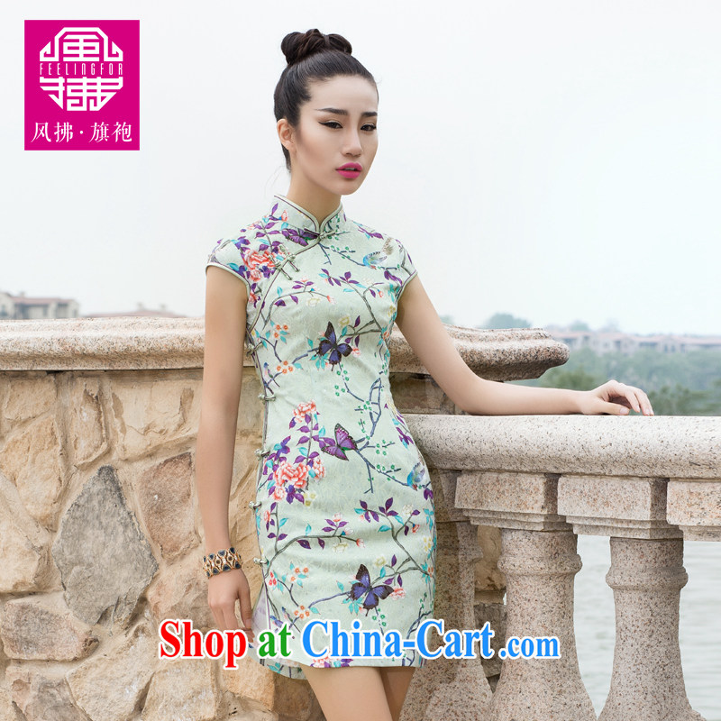 Wind Blowing summer 2015 new Chinese female high-end stylish improved daily short beauty dresses cheongsam green XXL