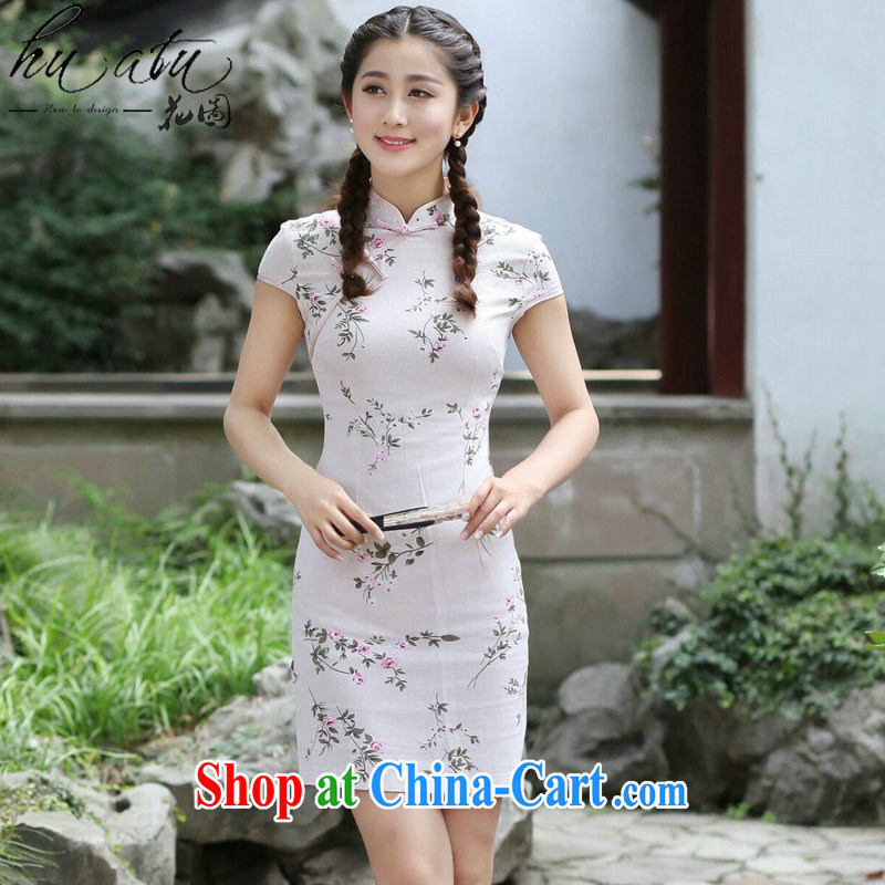 spend the summer new female cheongsam Chinese Chinese improved, for a tight cotton Ma forgetting D. Short cheongsam dress forgetting D. 2XL
