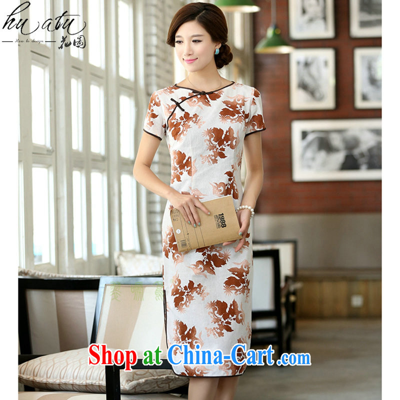 spend the summer Women's clothes cotton the field for a field manual for improved short-sleeved, long-neck dresses smiling XL 2