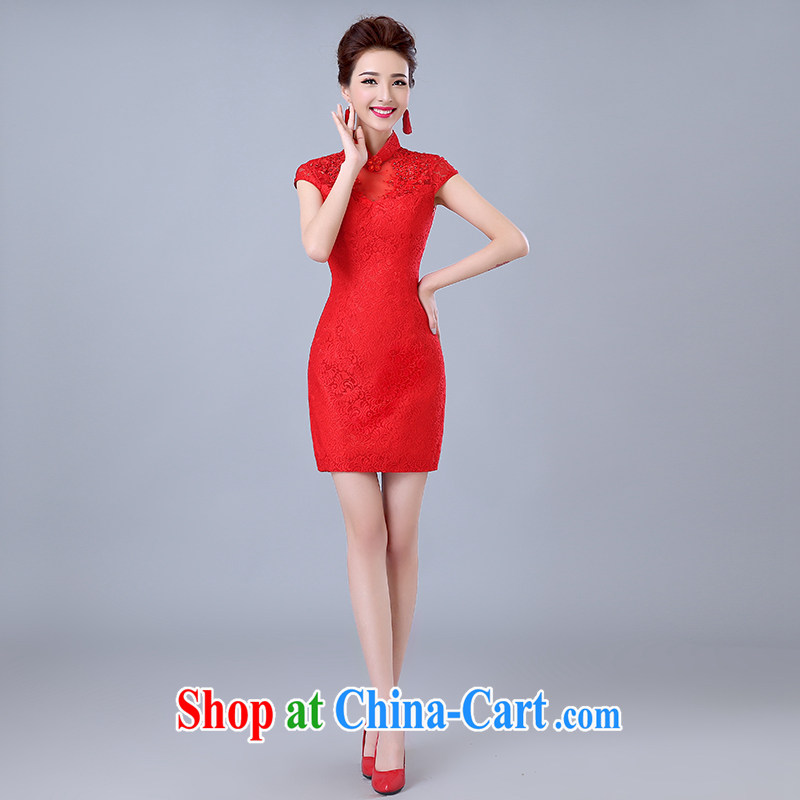 Yi love still bridal wedding dress toast summer clothing new 2015 cheongsam dress red stylish retro lace beauty dress short, can be done with _30 does not return