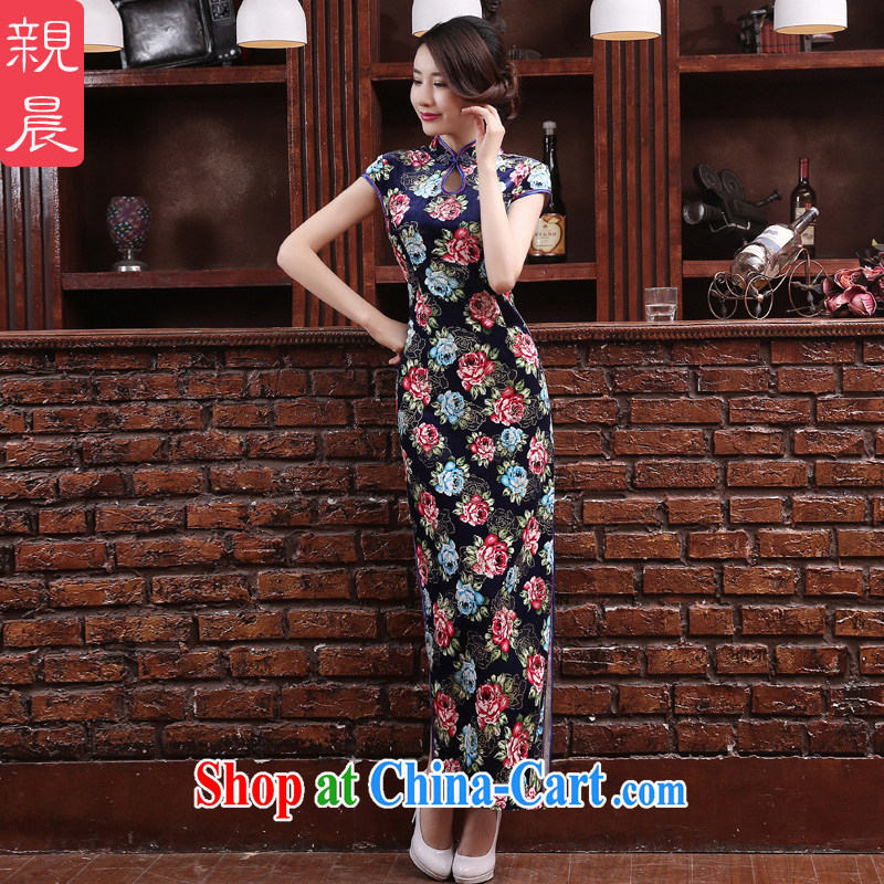 pro-am 2015 new daily improved stylish MOM velvet cheongsam dress summer long, short-sleeved qipao dresses long 2XL
