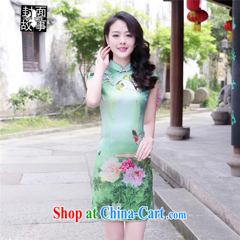 Cover Story 2015 summer new retro Peony, stamp duty for soft damask dresses cheongsam Chinese classical style further than the forklift truck cheongsam peony flowers XXL