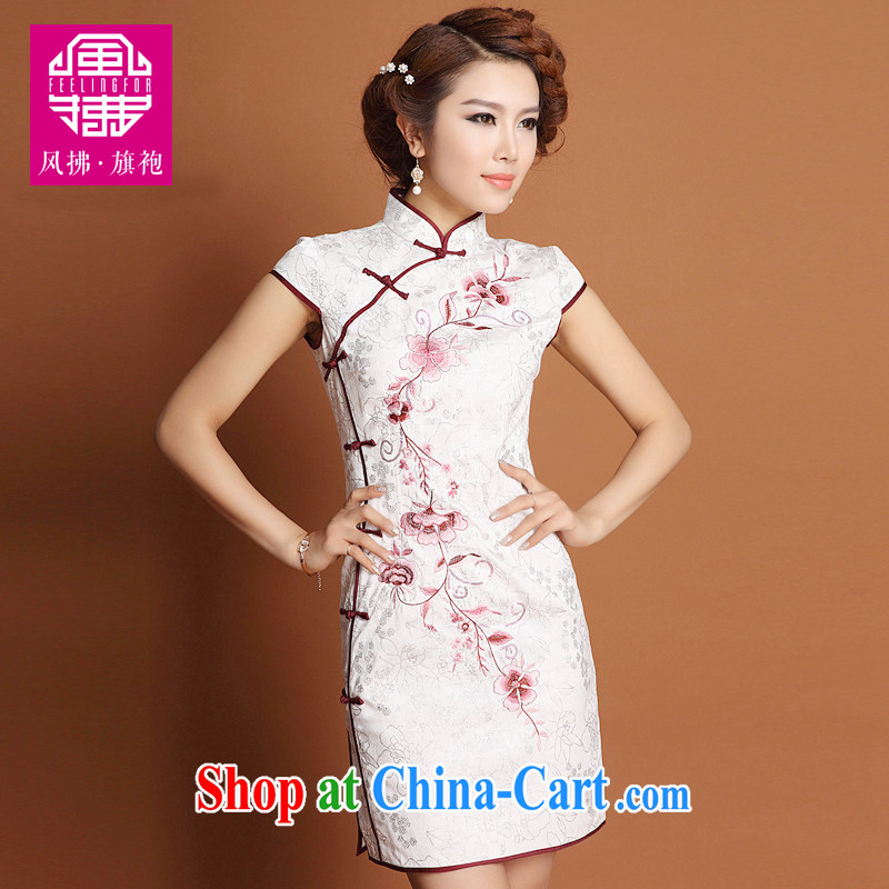 Wind Blowing short cheongsam high Style Fashion graphics thin improved Chinese even women spring and summer embroidery white dresses white XXXXL