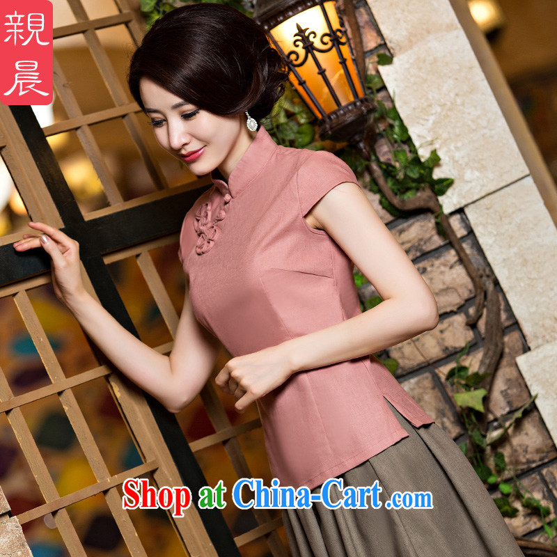 pro-am New 2015 daily Tang women summer dresses shirt improved stylish China wind cotton the cheongsam dress CND leather pink T-shirt 2XL