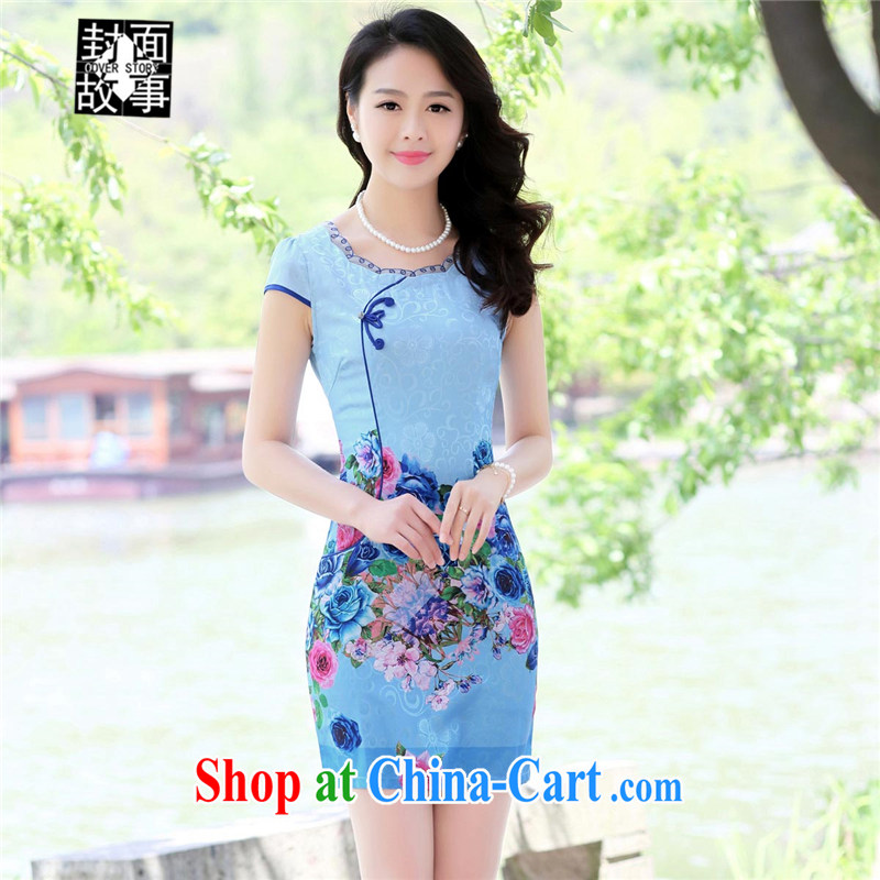 Cover Story China wind cheongsam short-sleeved stamp short dresses summer Daily Beauty dresses high fashion skirts dresses blue roses XXL