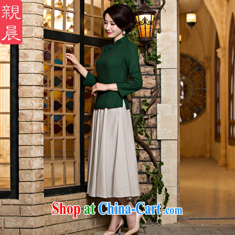 pro-am 2015 new Chinese cheongsam dress shirt summer female daily ethnic wind Chinese improved fashion cheongsam dress dark green 9 cuff flower + White skirt in 2 XL