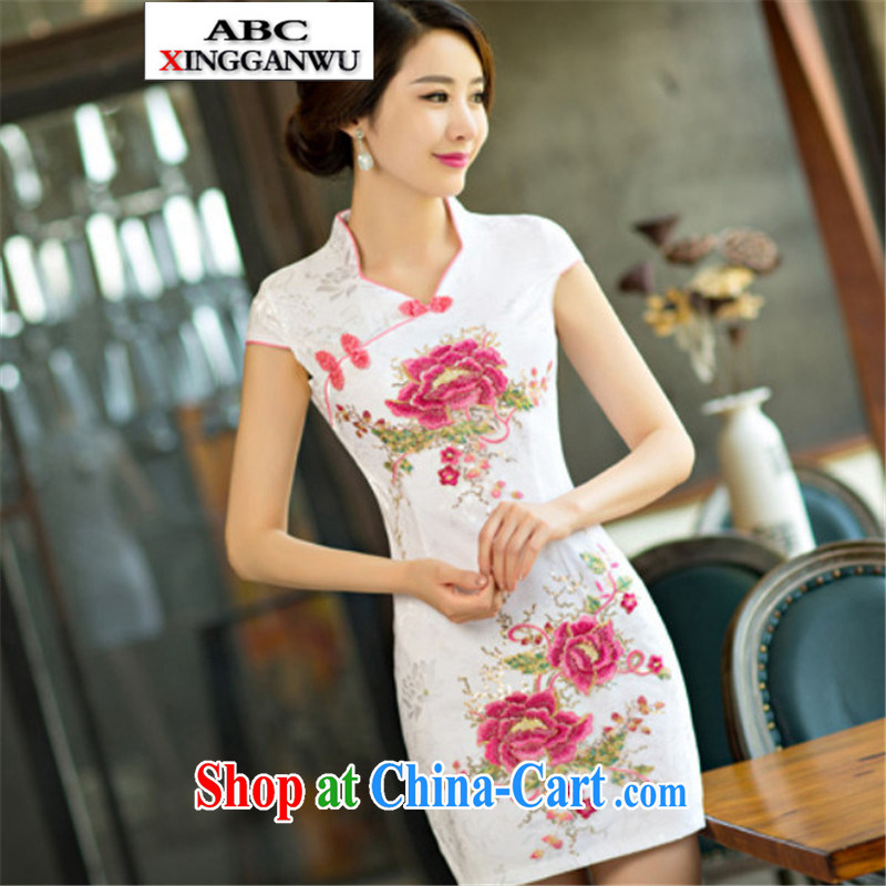 2015 XGW new dresses summer improved the Code women toast clothing cheongsam dress short red XL